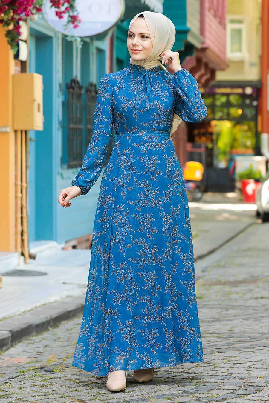 İndigo Mavisi Hijab Dress 279011IM