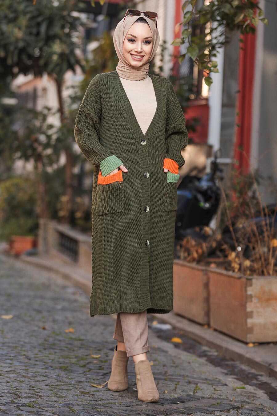 Khaki Hijab Cardigan 20103HK