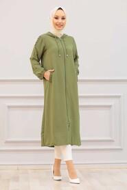 Khaki Hijab Coat 15630HK - Thumbnail