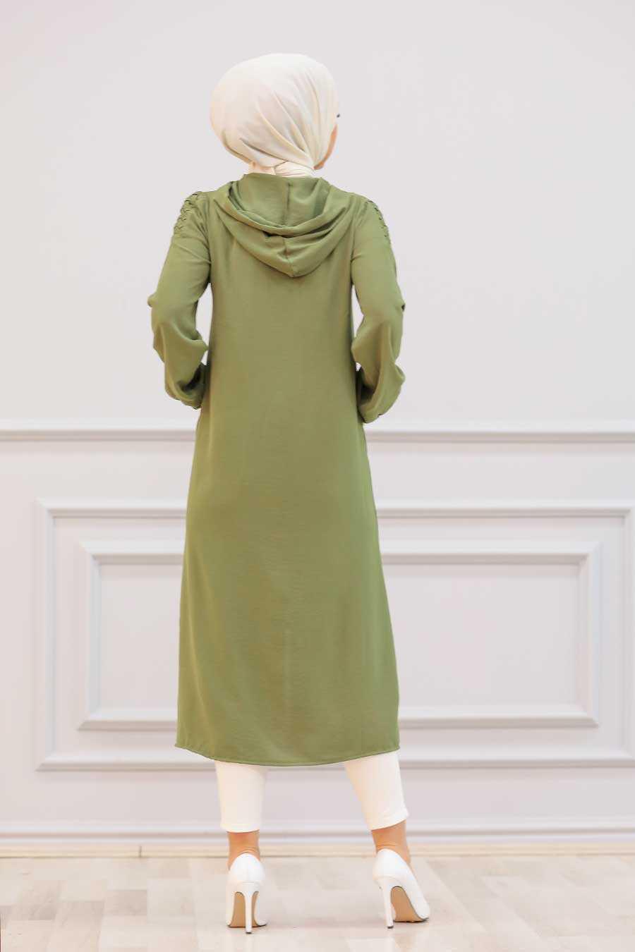 Khaki Hijab Coat 15630HK