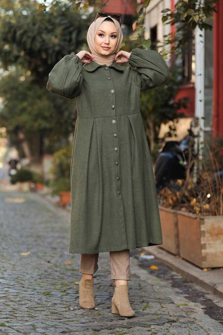 Khaki Hijab Coat 5592HK