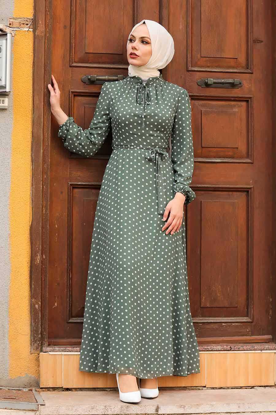 Khaki Hijab Dress 27909HK
