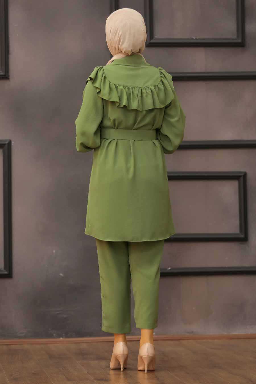 Khaki Hijab Dual Suit Dress 14701HK
