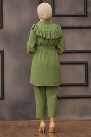 Khaki Hijab Dual Suit Dress 14701HK - Thumbnail