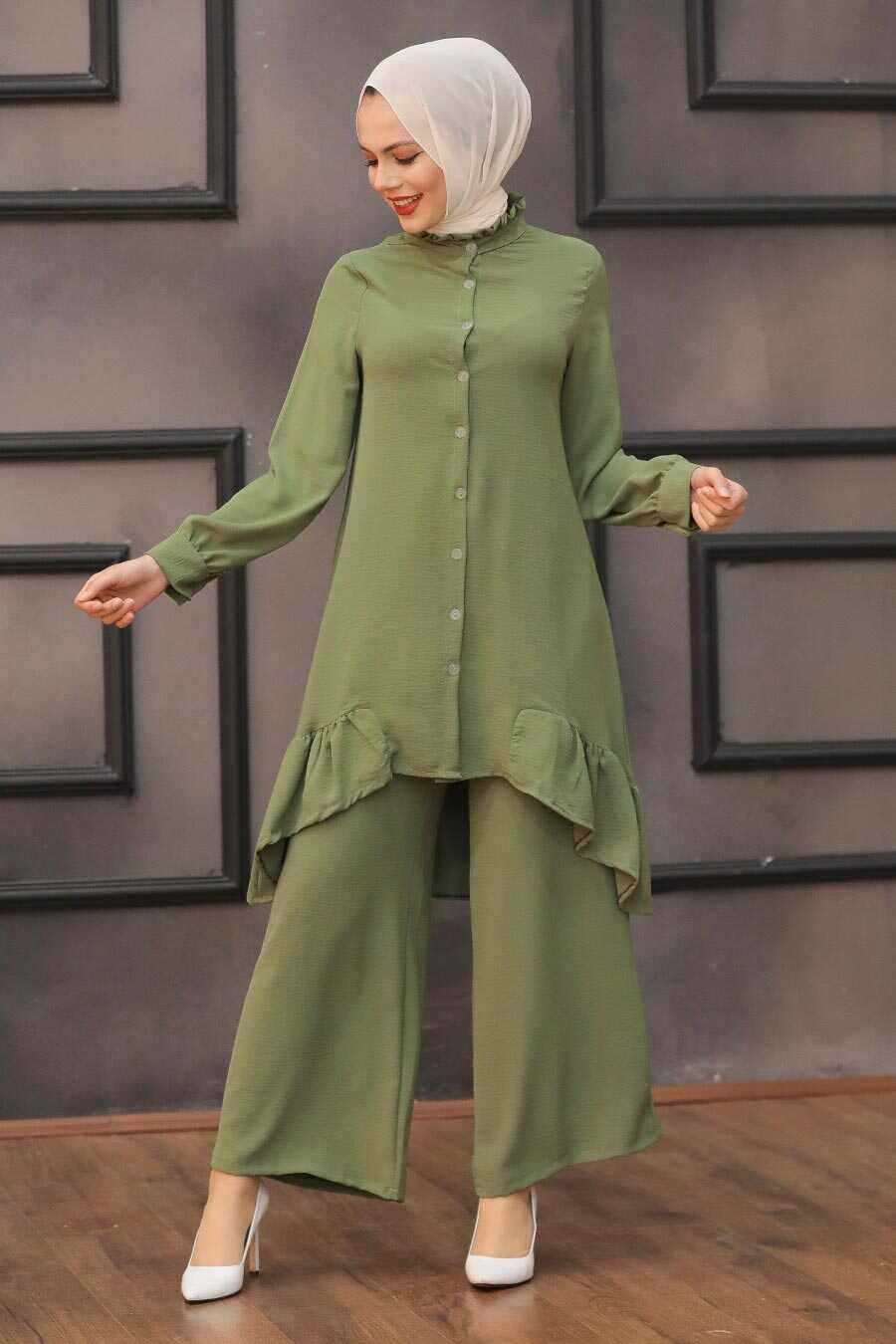 Khaki Hijab Dual Suit Dress 2428HK