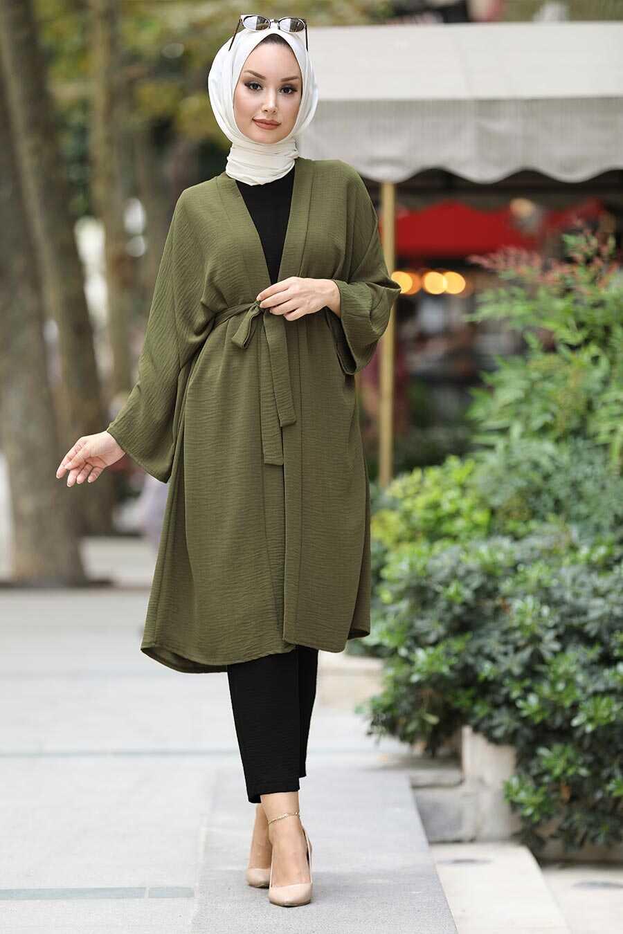 Khaki Hijab Kimono 40930HK
