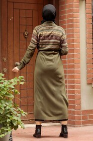 Khaki Hijab Knitwear Cardigan 15725HK - Thumbnail