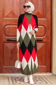 Khaki Hijab Knitwear Suit Dress 3181HK - Thumbnail