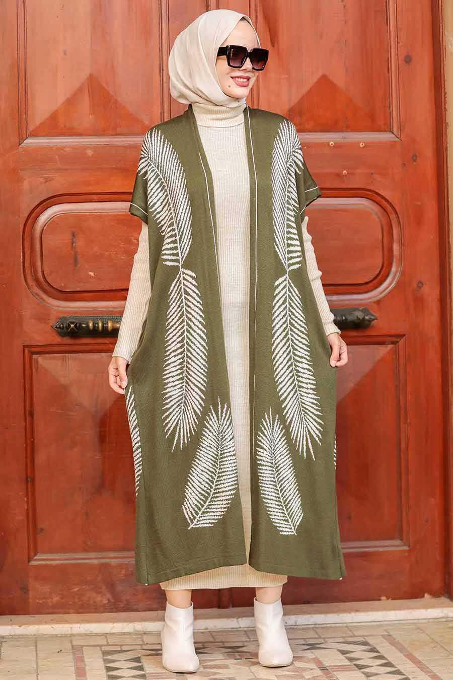 Khaki Hijab Knitwear Suit Dress 3183HK