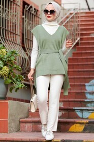 Khaki Hijab Knitwear Sweater 46500HK - Thumbnail