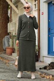 Khaki Hijab Suit Dress 1536HK - Thumbnail