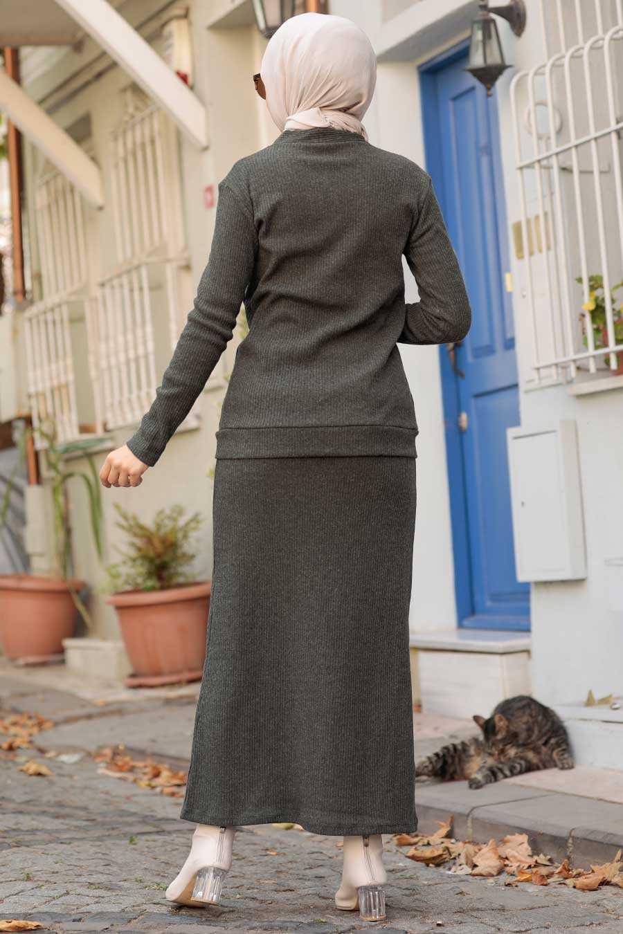 Khaki Hijab Suit Dress 1536HK