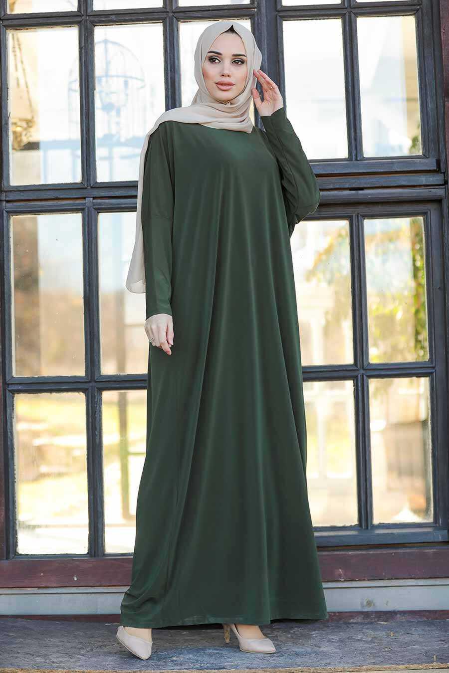 Khaki Hijab Turkish Abaya 17801HK