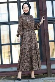 Leopard Hijab Dress 27620LP - Thumbnail