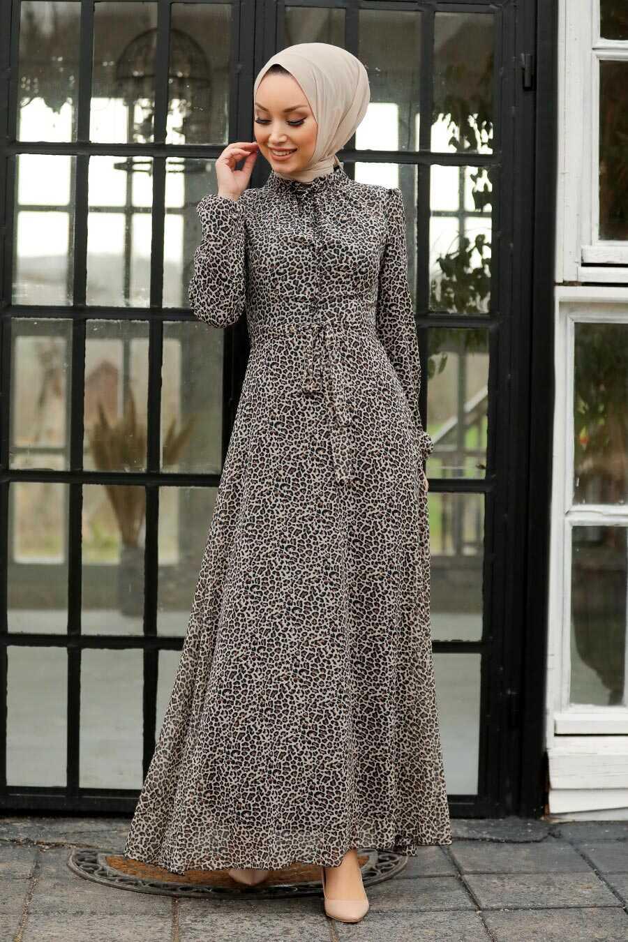 Leopard Hijab Dress 27904LP
