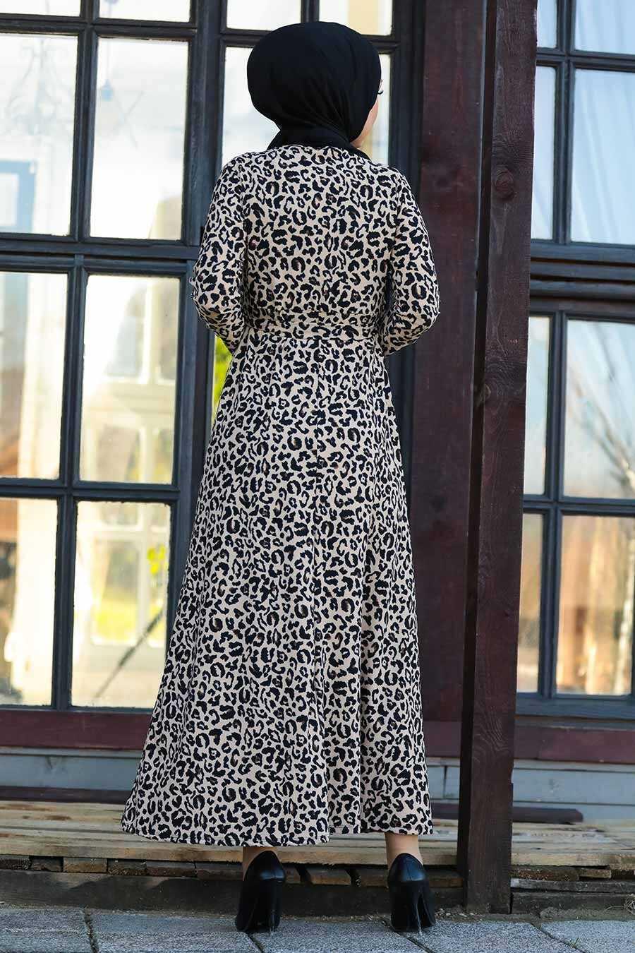 Leopard Patterned Hijab Dress 43092LP