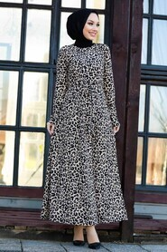 Leopard Patterned Hijab Dress 43092LP - Thumbnail