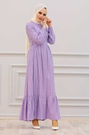 Lila Hijab Dress 28480LILA - Thumbnail