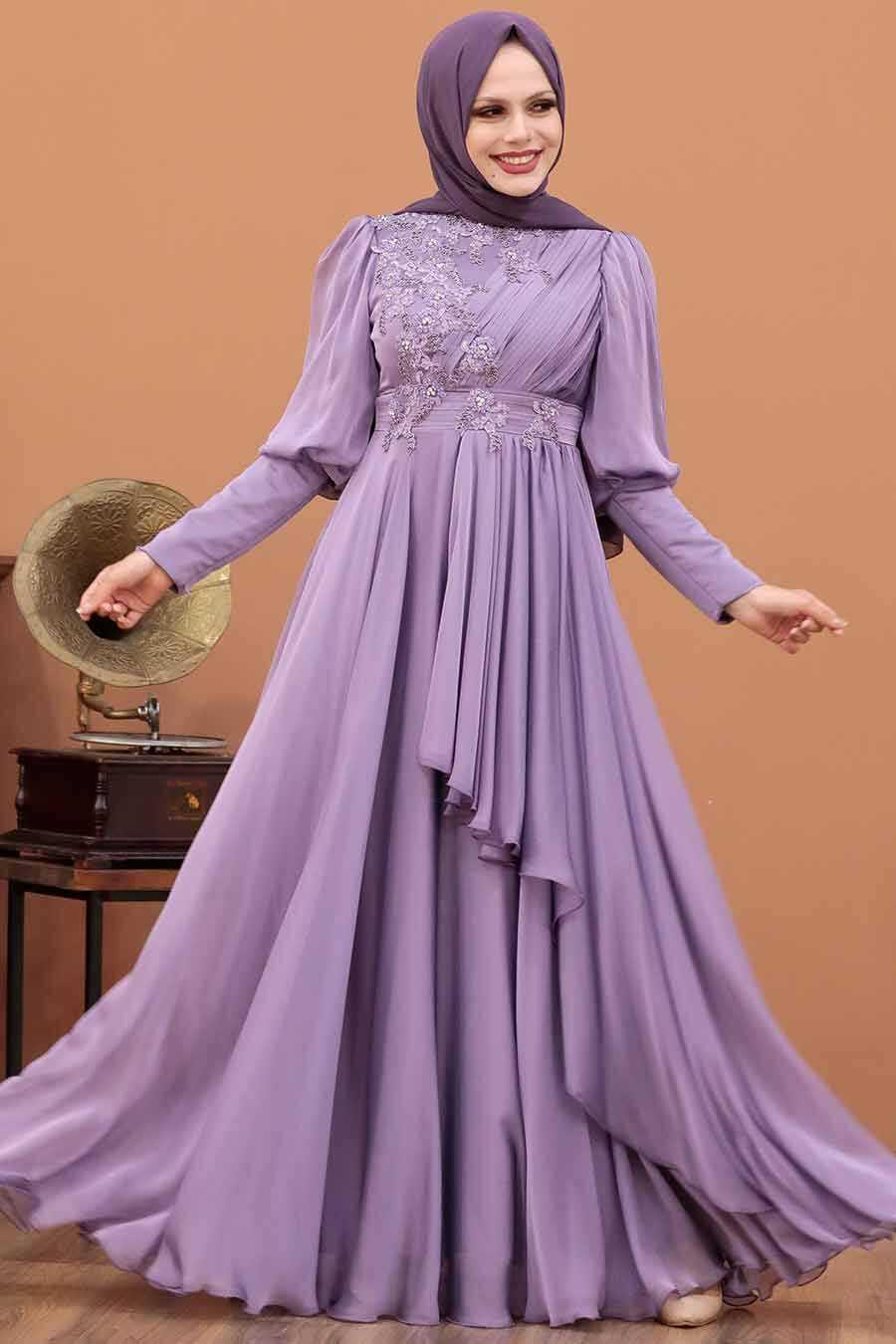 Lila Hijab Evening Dress 21930LILA
