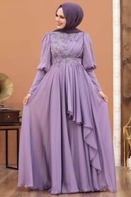 Lila Hijab Evening Dress 21930LILA - Thumbnail