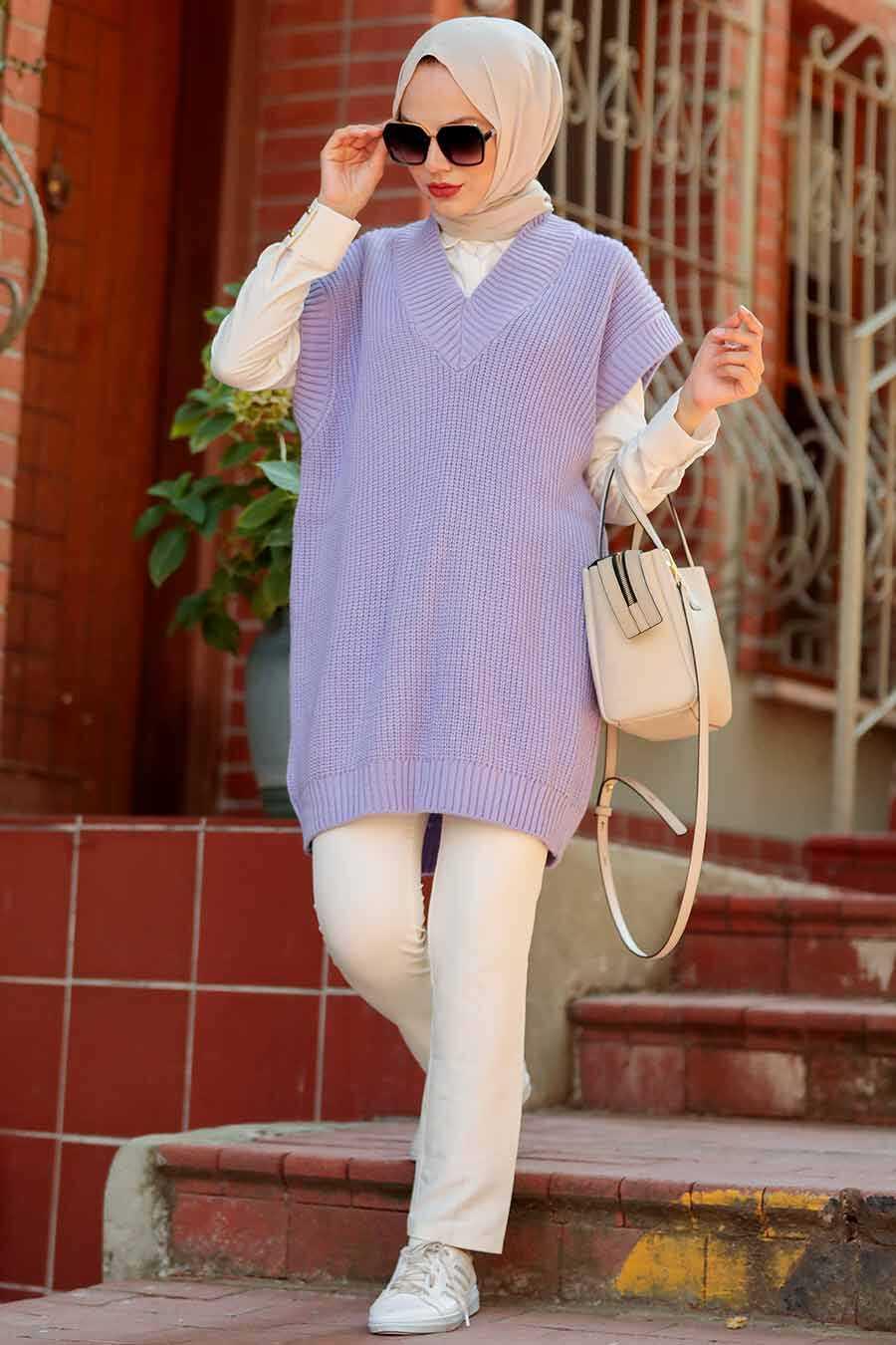 Lila Hijab Knitwear Sweater 7836LILA