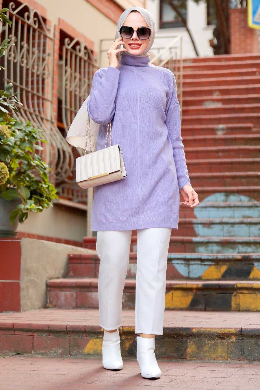 Lila Hijab Knitwear Tunic 18441LILA