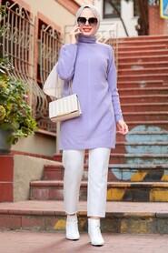 Lila Hijab Knitwear Tunic 18441LILA - Thumbnail