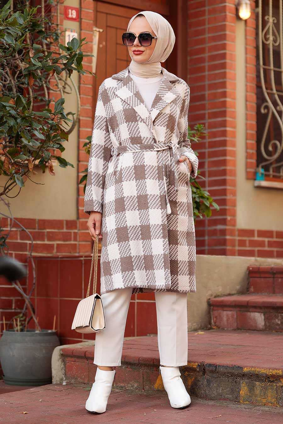 Mink Hijab Coat 7038V