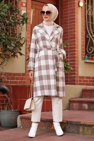 Mink Hijab Coat 7038V - Thumbnail