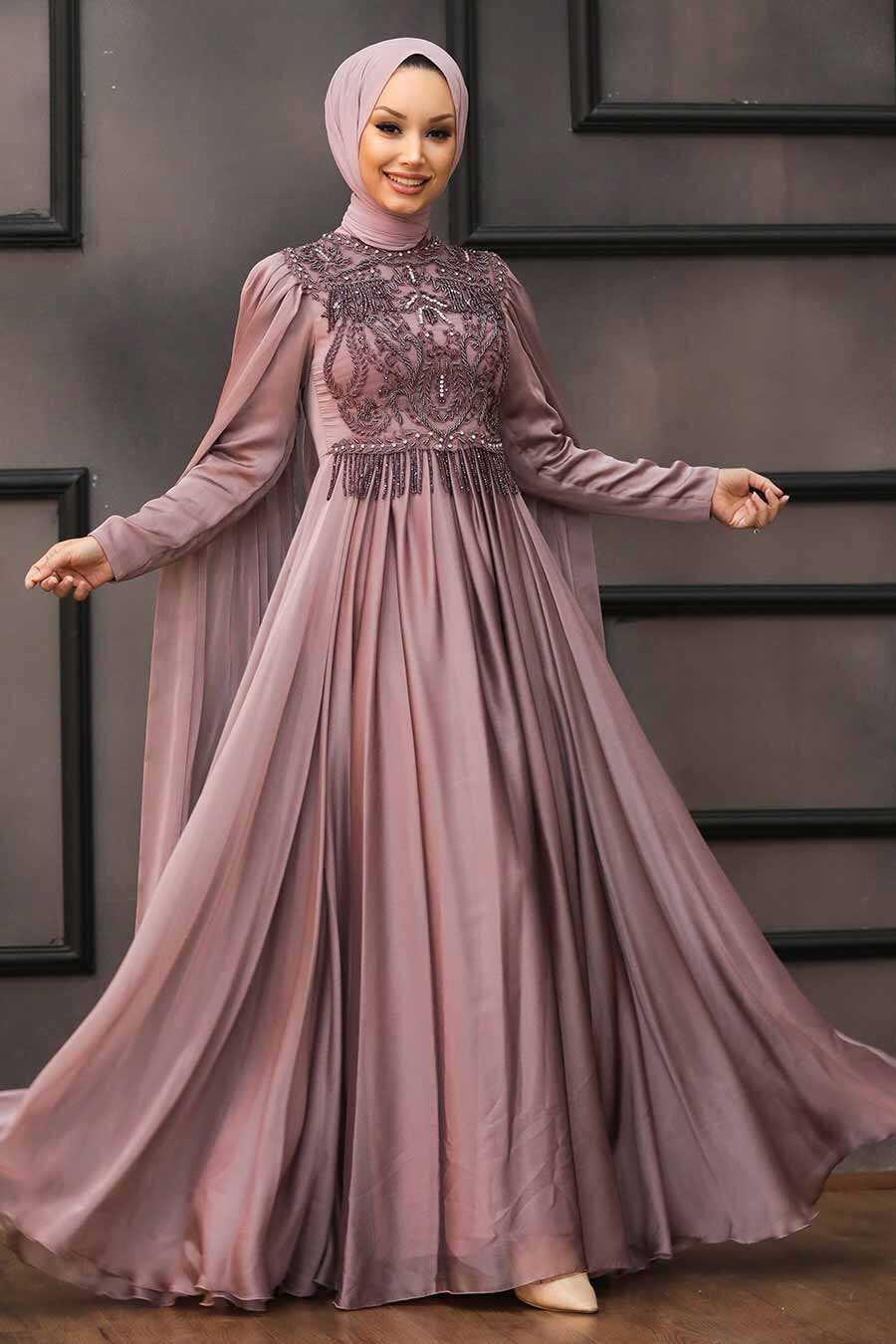 Mink Hijab Evening Dress 22162V