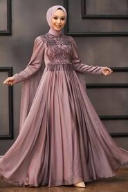 Mink Hijab Evening Dress 22162V - Thumbnail