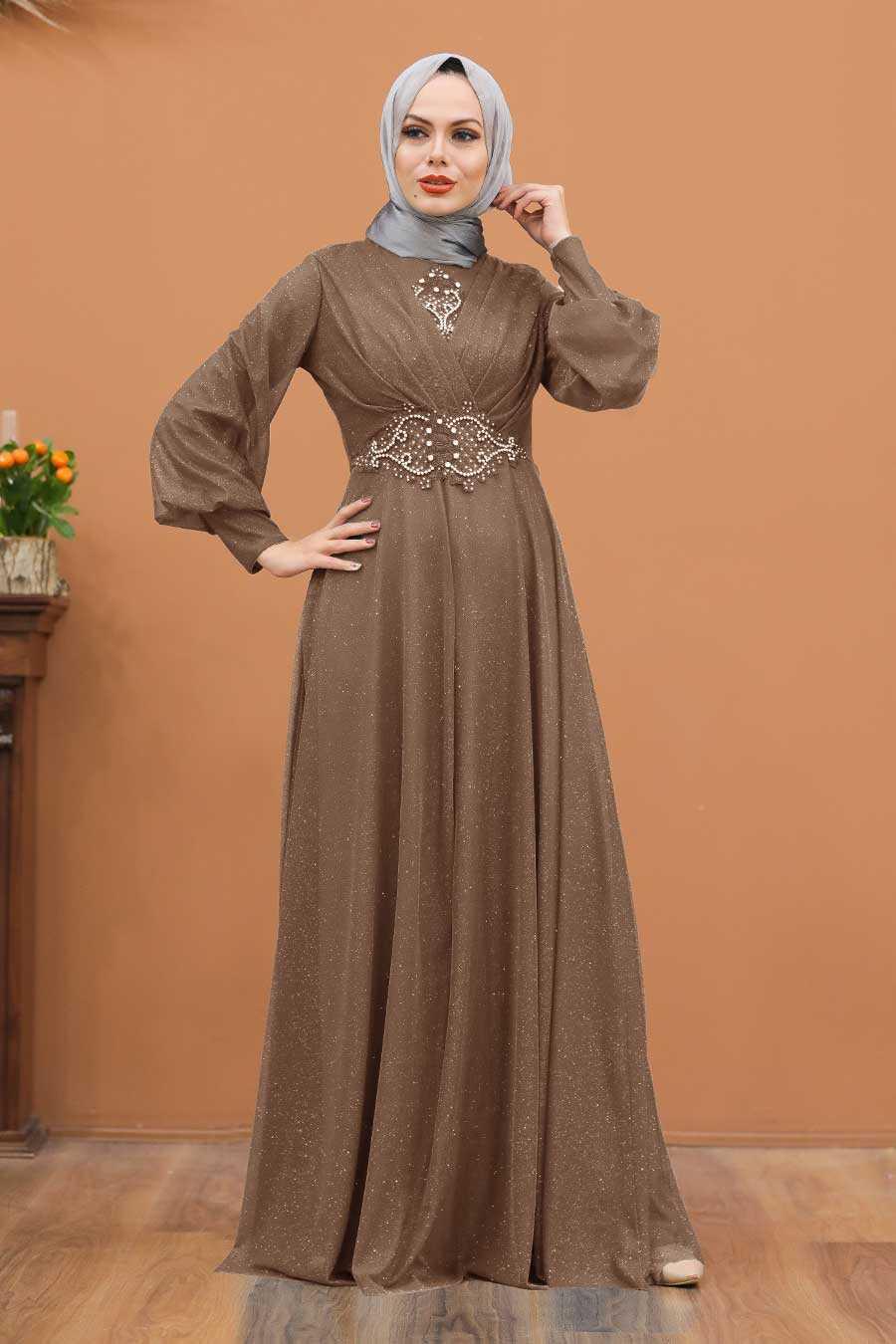 Mink Hijab Evening Dress 50151V