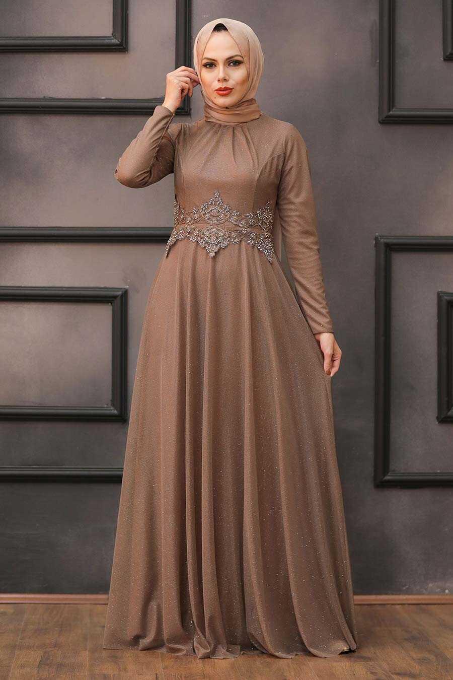 Mink Hijab Evening Dress 50162V