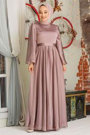 Mink Hijab Evening Dress 5215V - Thumbnail