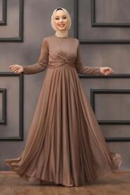 Mink Hijab Evening Dress 5397V - Thumbnail