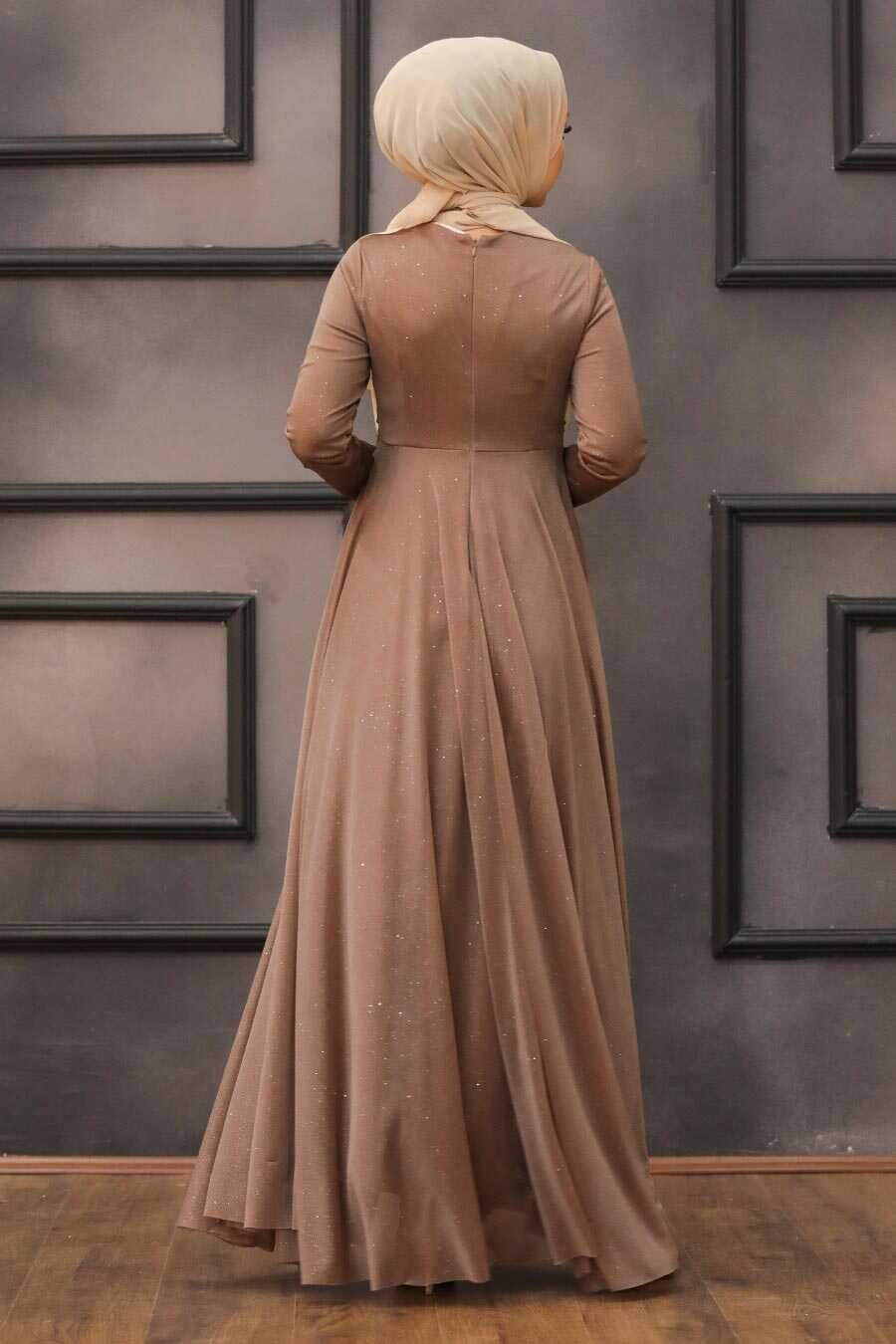 Mink Hijab Evening Dress 5397V
