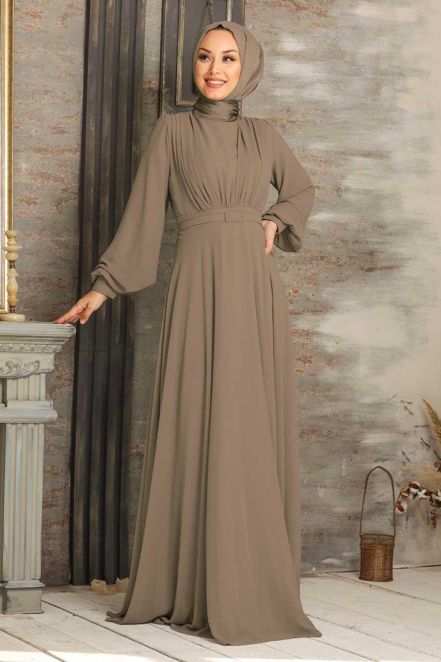 Mink Hijab Evening Dress 5422V