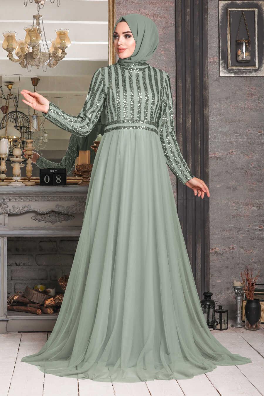 Mint Hijab Evening Dress 5338MINT