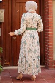 Mint Hijab Dress 22050MINT - Thumbnail