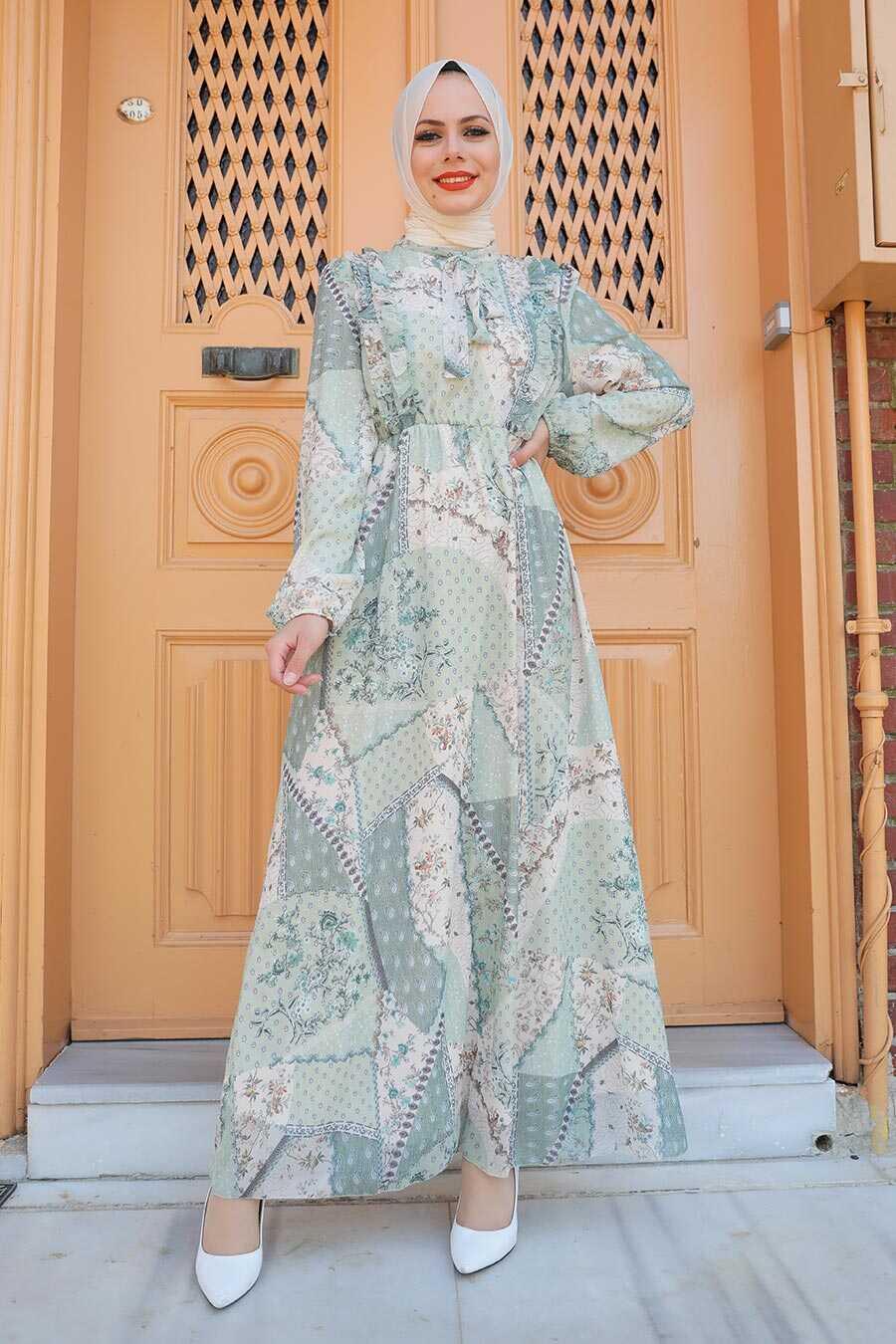Mint Hijab Dress 2957MINT