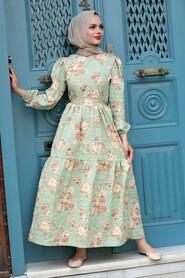 Mint Hijab Dress 7673MINT - Thumbnail