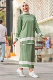 Mint Hijab Dual Suit Dress 9681MINT - Thumbnail