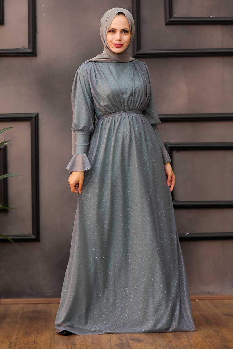 Mint Hijab Evening Dress 5367MINT