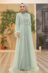 Mint Hijab Evening Dress 5383MINT - Thumbnail
