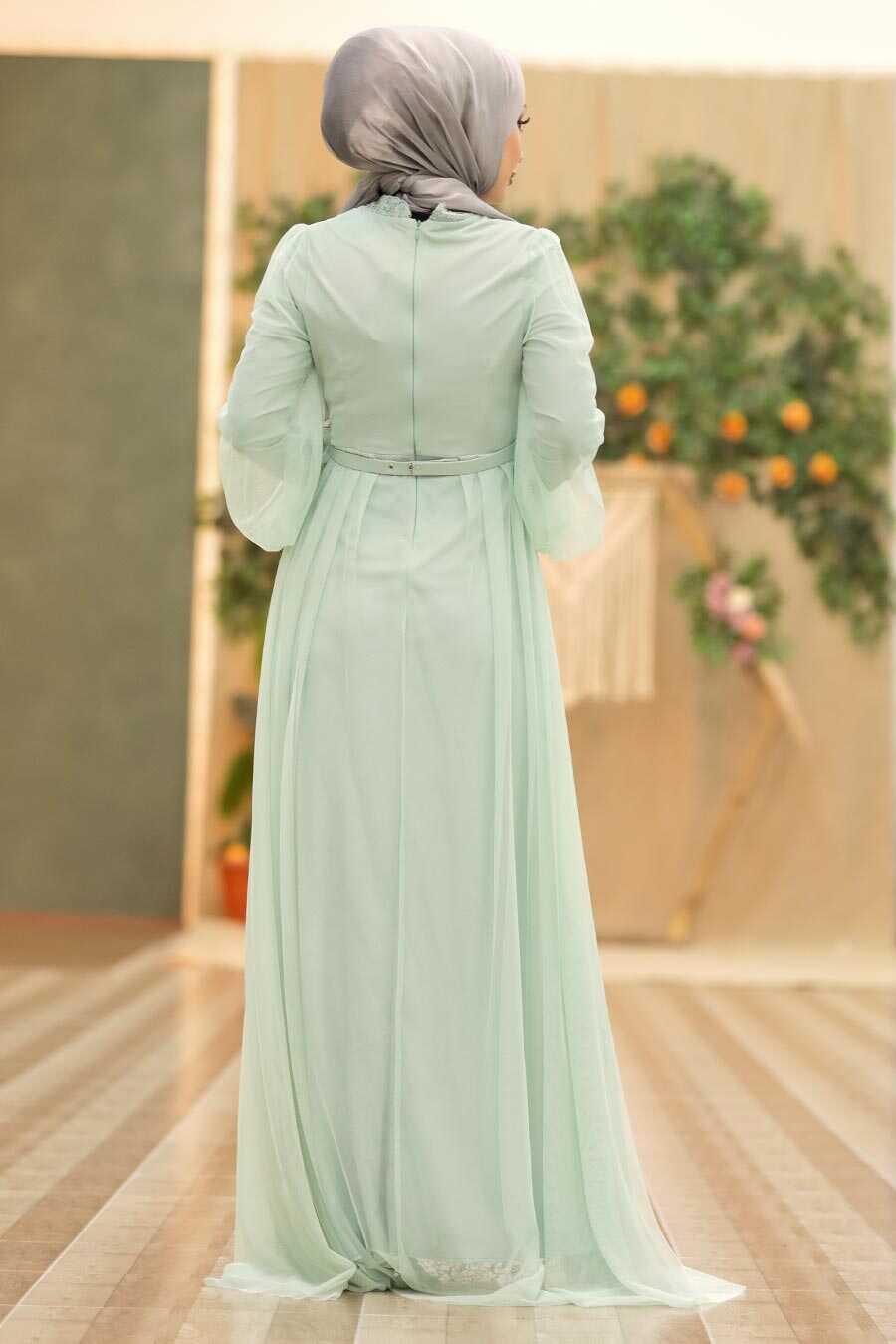 Mint Hijab Evening Dress 5383MINT