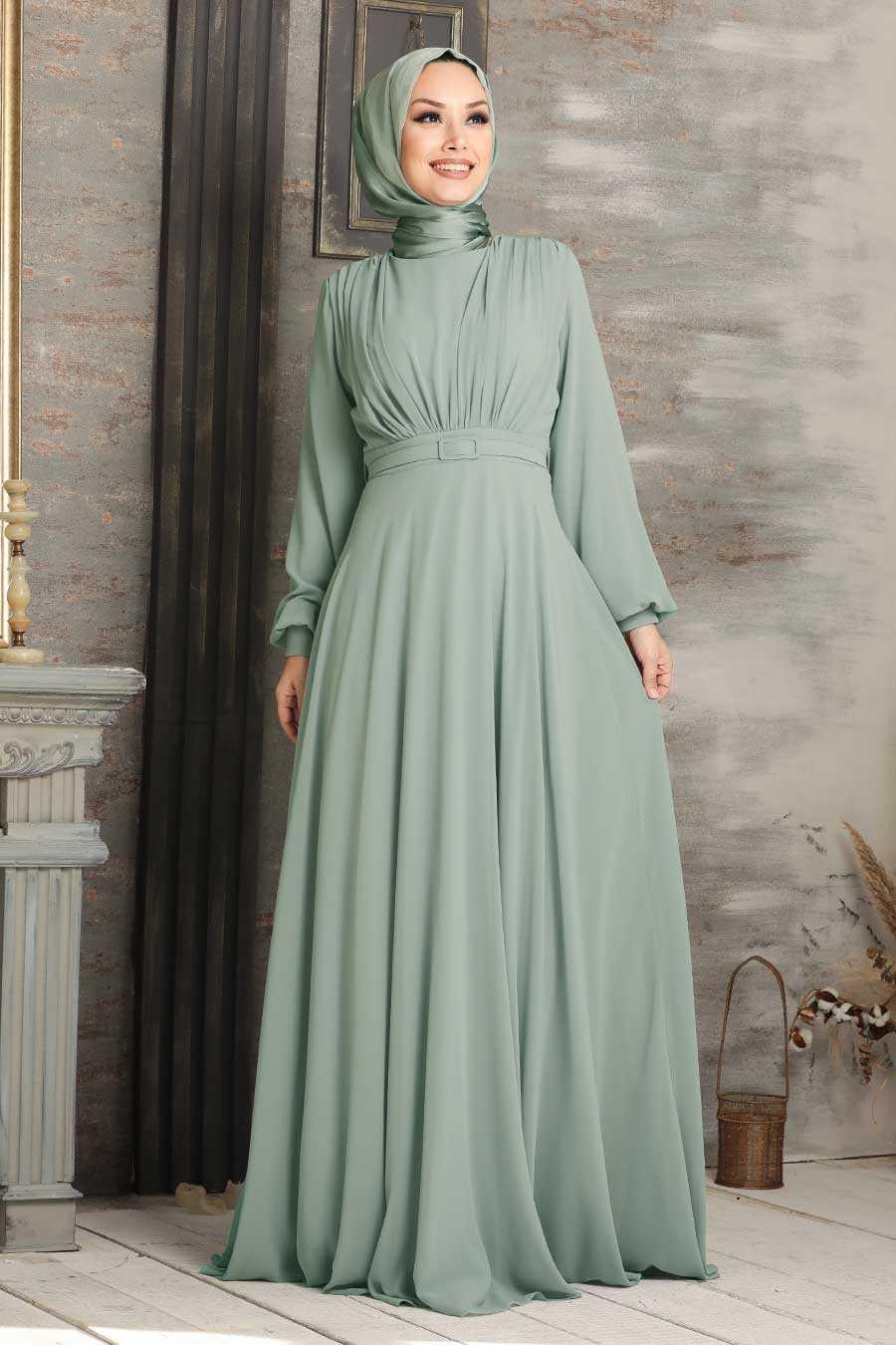 Mint Hijab Evening Dress 5422MINT