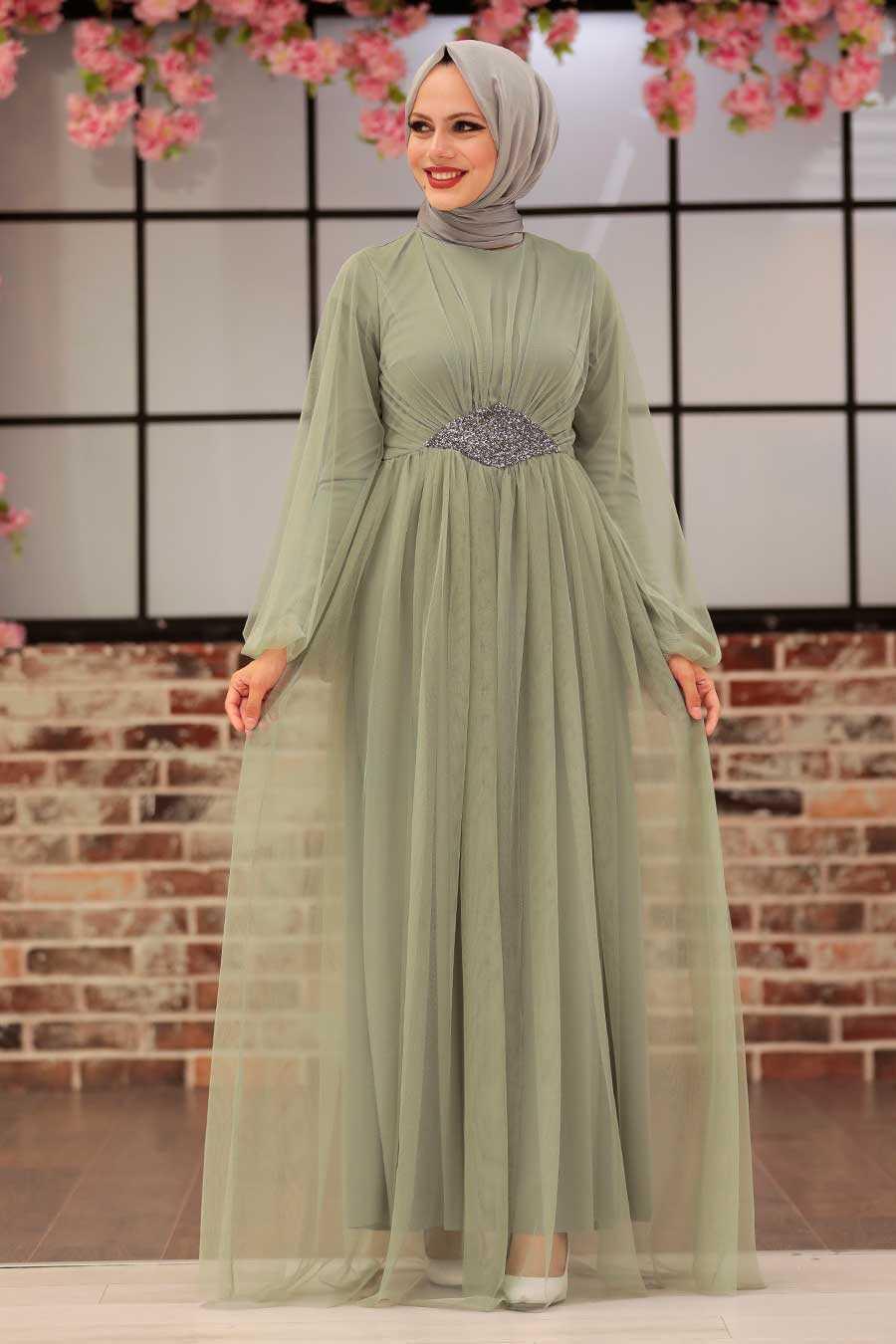 Mint Hijab Evening Dress 54230MINT