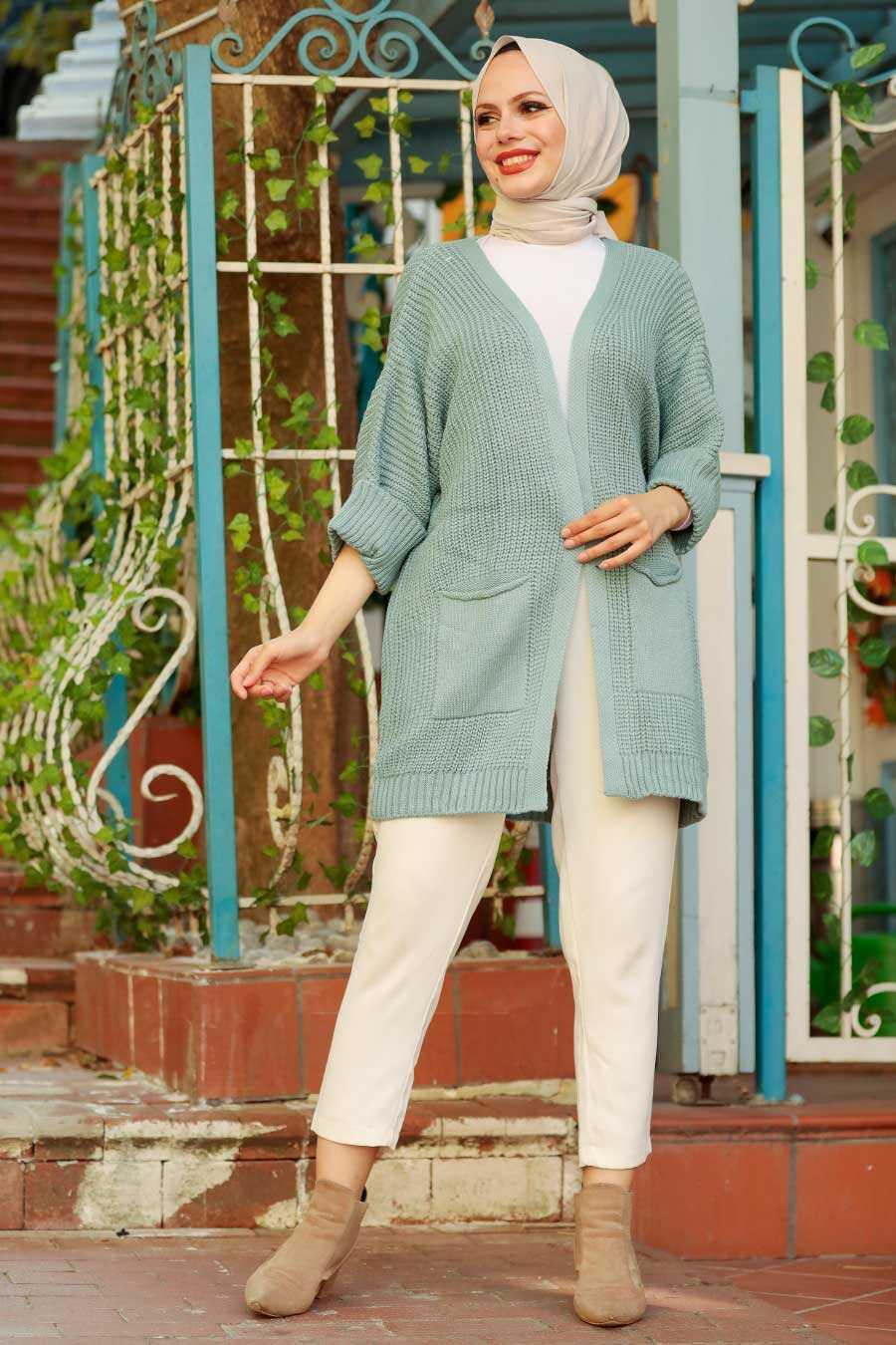 Mint Hijab Knitwear Cardigan 7904MINT