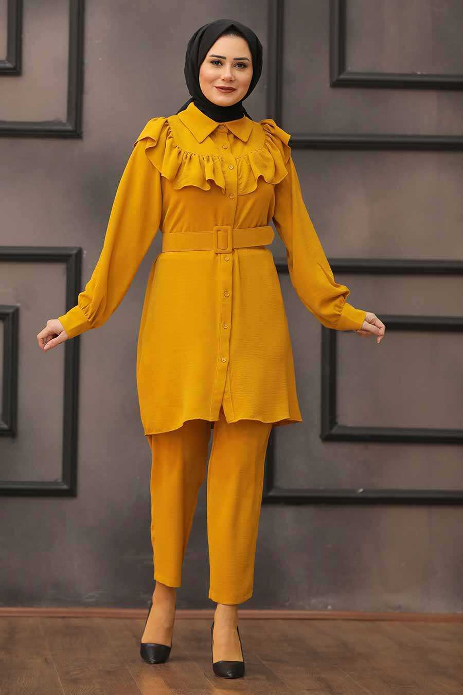 Mustard Hijab Dual Suit Dress 14701HR