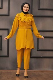 Mustard Hijab Dual Suit Dress 14701HR - Thumbnail